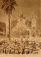 Lithographs The Royal Visit to India Illuminations on Road to Parell , India