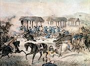 Giuseppe Garibaldi at the battle of San Antonio, February 8, 1846. Uruguayan Civil War, Uruguay, 19th century.  Genoa, Museo Del Risorgimento E Istitu...