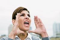Businesswoman yelling