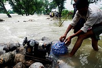 Kosi river flood in year 2008 which mostly made suffered below poverty line people in Purniya district ; Bihar ; India