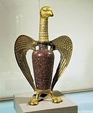 Eagle-shaped vase of Abbe' Suger of Saint Denis, porphyry and gilded silver body, before 1147. From the Treasury of Saint Denis Abbey, France, Romanes...