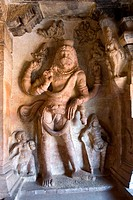 Narasimha Vishnu´s lion incarnation bas relief in cave three , cave temple 6th century 578 AD , Badami , Karnataka , India