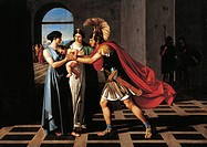 Andromache intercepting Hector at the Scaean Gate, by Fernando Castelli, 1811, oil on canvas, 160x220 cm.  Milano, Accademia Di Belle Arti Di Brera Qu...