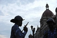 Rapid Action Force RAF commandos in front of Taj Mahal hotel ; after terrorist attack by Deccan Mujahedeen on 26th November 2008 in Bombay Mumbai ; Ma...