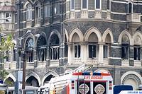 Life brigade van standing at old Taj hotel in Colaba after terror attack in 2008 ; Bombay Mumbai ; Maharashtra ; India