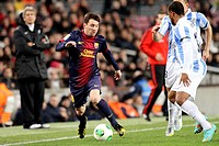 16 01 2013 Barcelona, Spain  Messi in action during the Spanish Copa del Rey game between Barcelona and Malaga from the Nou Camp