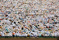 Crowd offering their Eid al Fitr or Ramzan id namaaz at Lashkar-e-Eidgaah ground ; Malegaon ; Maharashtra ; India