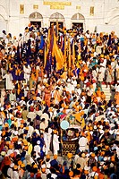 Sikh devotees congregate at the Sachkhand Saheb Gurudwara for 300th year of Consecration of perpetual Guru Granth Sahib on 30th October 2008 ; Nanded ...
