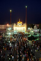 Illuminated Sachkhand Saheb Gurudwara for 300th year of Consecration of perpetual Guru Granth Sahib on 30th October 2008 ; Nanded ; Maharashtra ; Indi...