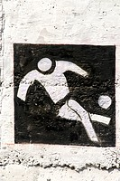 Football the pictogram of III Commonwealth Youth Game painted on wall of Rajiv Gandhi Zoological park ; Katraj ; Pune ; Maharashtra ; India