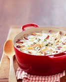 Pot of Crab and Hominy Chowder