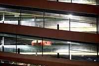 Multistorey parking structure at night