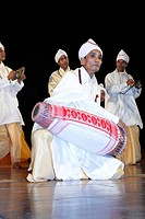 Gayan bayan singing and playing musical instruments culture of Assam , India NO MR
