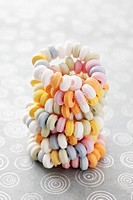 A twisted candy necklace