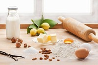An arrangement of baking ingredients on a kitchen counter
