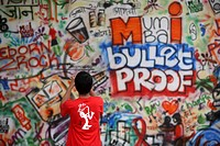 Wall graffiti done by various students for Indian Institute of Technology Bombay IIT-B cultural festival 2008 ; Mumbai ; Maharashtra ; India