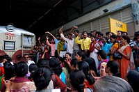 Commuters stage protest as they stop trains demanding increase in local train frequency at Airoli Station , New Bombay now Navi Mumbai , Maharashtra ,...