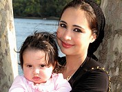 Arab American Mother and Baby Daughter, Portrait