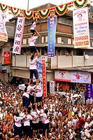 Girls breaking dahi hundi human pyramid on janmashtami gokulashtami , Bombay Mumbai , Maharashtra , India NO MR