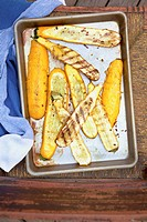 Grilled Summer Squash on a Sheet Pan, From Above