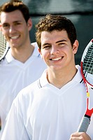 Tennis players smiling