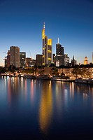 Skyline of Frankfurt with the river Main, at dusk