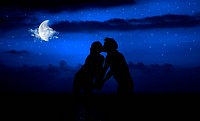 Romantic night kiss