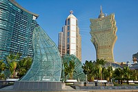 China, Macau, City Skyline with Grand Lisboa Hotel and Casino