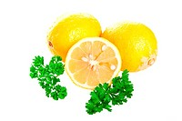 Lemons with parsley isloated on white
