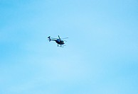 Police helicopter in flight
