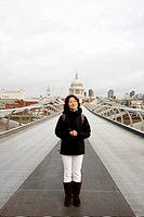 Smiling East Asian Woman Visiting London