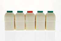 row of milk bottles