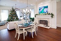 luxury home or apartment decorated for christmas dinner. Picture taken at a home in Beaufort, South Carolina, USA
