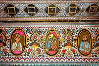 Paintings on wall of haveli , Fatehpur Shekhavati , Rajasthan , India