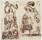 fine arts, Middle Ages, copper engraving, Das Maedchen mit der Rose The girl with the rose, by the Master of the banners active circa 1460 / 1465 Lowe...