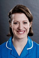Close up of nurses smiling face