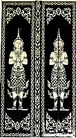 Native Thai style of pattern on door temple