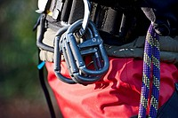 Close up of rock climbers carabiners