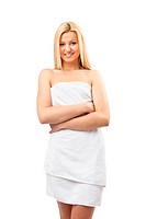 Blonde woman in spa towel
