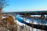 River Neris winter. Verkiai park observation deck