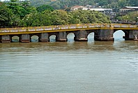 Pato bridge on creek at mandovi river ; Panjim Panaji ; Goa ; India 4-May-2008