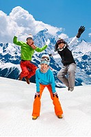 Young people skiing