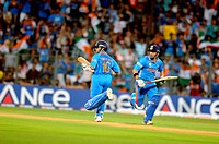 Indian opening batsman Sachin Tendulkar ,running between wickets during the 2011 ICC World Cup Final between India and Sri Lanka at Wankhede Stadium o...