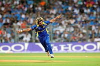 Sri Lankan bowler Lasith Malinga celebrate wicket of Indian batsman Sachin Tendulkar Not I Picture during the 2011 ICC World Cup Final between India a...