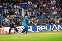 Indian batsman Yuvraj Singh plays his shot during the 2011 ICC World Cup Final between India and Sri Lanka at Wankhede Stadium on April 2 2011 in Mumb...