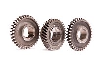 Gears, wheels system isolated on white