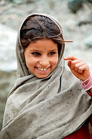 A shying girl ; Pushkar ; Ajmer ; Rajasthan ; India MR