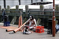 Aborigine musician ; Sydney harbour side ; Sydney ; Australia
