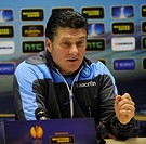Napoli coach Walter Mazzarri speaks during press conference ahead of Europa League qualifier match FC Viktoria Plzen vs Neapol in Pilsen, Czech Republ...