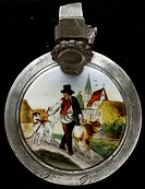 fine arts, painting, painted beer jug lid, tin mounting, contour print, butcher with calfs, Germany, 2nd half 19th century,